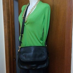 Fossil Peyton double flap large crossbody purse
